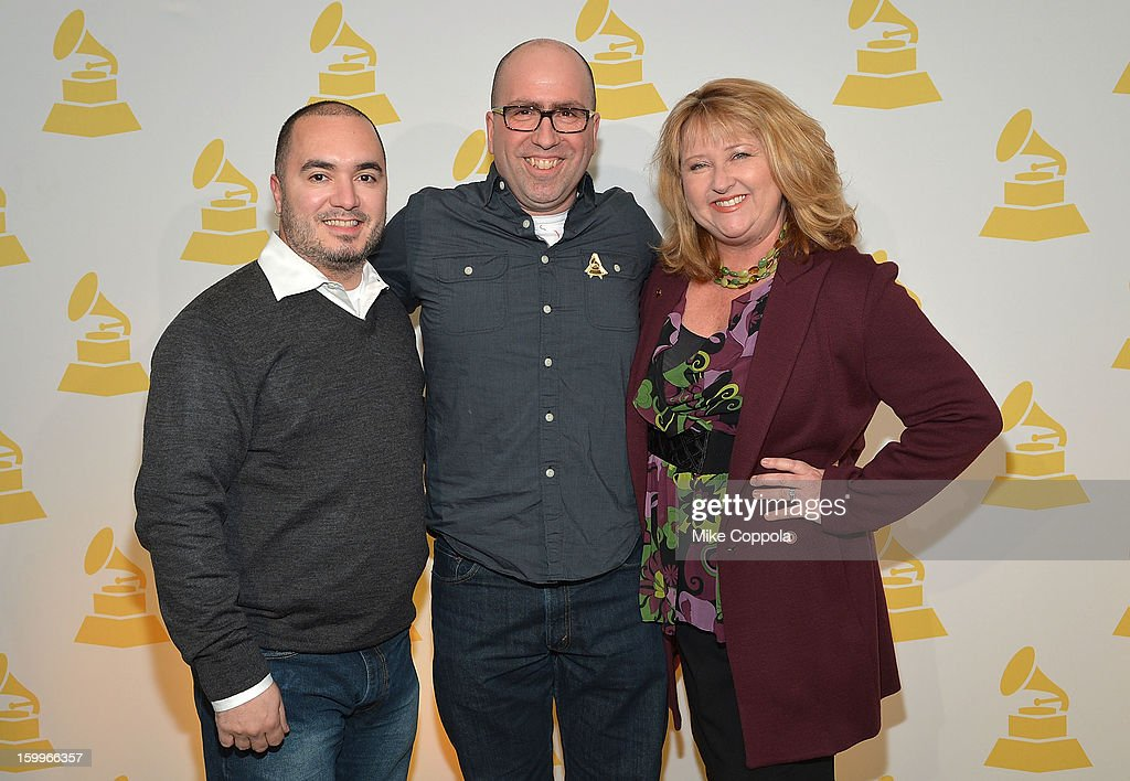 Robert Robles, Chris Gehringer, and President of The Recording Academy's New York chapter <a gi-track='captionPersonalityLinkClicked' href=/galleries/search?phrase=Linda+Lorence+Critelli&family=editorial&specificpeople=5334858 ng-click='$event.stopPropagation()'>Linda Lorence Critelli</a> attend GRAMMY Nominee Reception at The Recording Academy NY Chapter on January 23, 2013 in New York City.