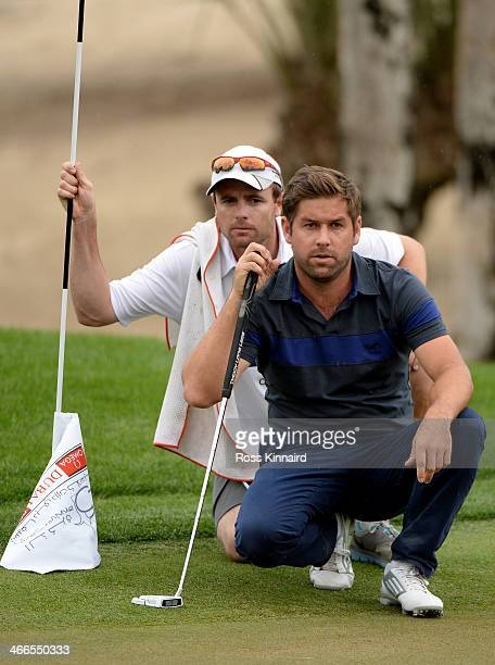 Robert Rock of England during the final round of the Omega Dubai Desert Classic on the Majlis Course at the Emirates Golf Club on February 2 2014 in...