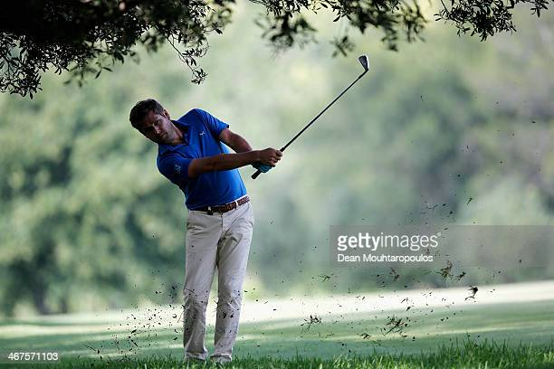 Robert Rock of England hits his second shot on the 17th hole during Day Two of the Joburg Open at Royal Johannesburg and Kensington Golf Club on...