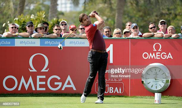 Robert Rock of England in action during the third round of the Omega Dubai Desert Classic on the Majlis Course at the Emirates Golf Club on February...