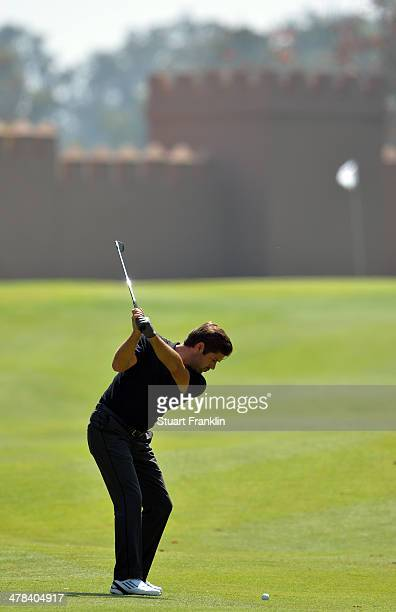 Robert Rock of England plays a shot during the first round of the Trophee du Hassan II Golf at Golf du Palais Royal on March 13 2014 in Agadir Morocco