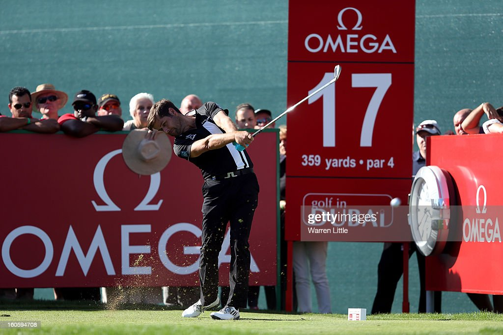 Robert Rock of England tees off on the 17th hole during the final round of the Omega Dubai Desert Classic at Emirates Golf Club on February 3, 2013 in Dubai, United Arab Emirates.