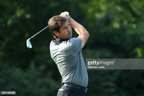 Robert Rock of England tees off on the 2nd hole during the 32 qualifiers matches of the Saltire Energy Paul Lawrie Matchplay at Golf Resort Bad...