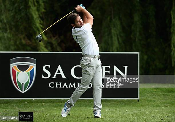 Robert Rock of England tees off on the eighth hole during the first round of the South African Open Championship at Glendower Golf Club on November...