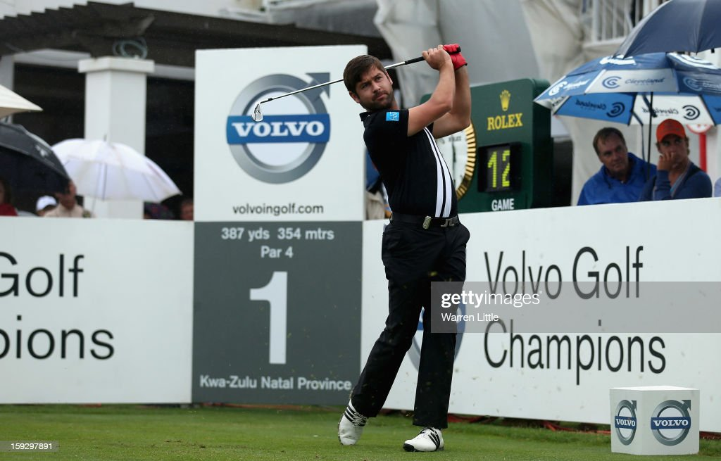 Robert Rock of England tees off on the first hole during the second round of the Volvo Golf Champions at Durban Country Club on January 11, 2013 in Durban, South Africa.
