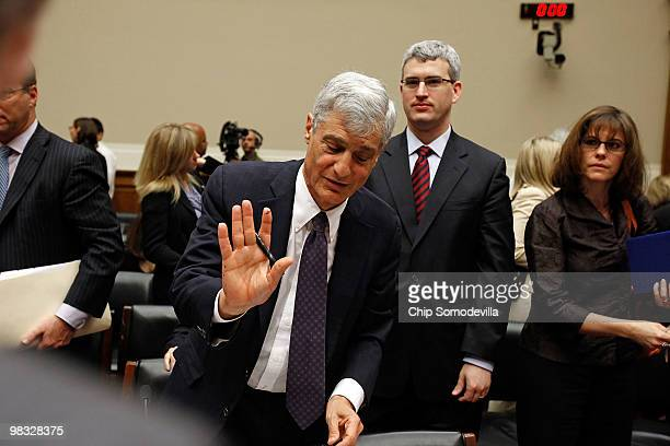 Robert Rubin former chairman of the Executive Committee of the Board of Directors at Citigroup Inc refuses questions from reporters after testifying...