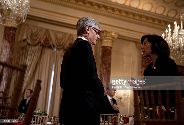 Robert Rubin former Secretary of the Treasury former Goldman Sachs board member and former Director of Citi Group speaks with a guest before a...