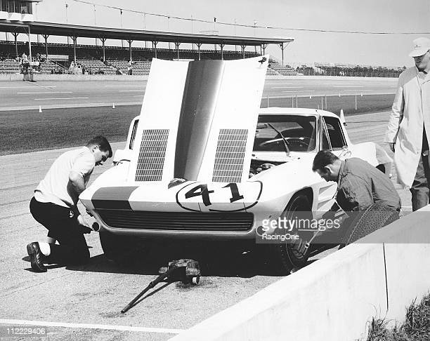 Robert Ryan Brown pits his Chevrolet Corvette during the Daytona Continental at Daytona International Speedway