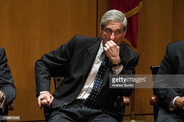 Robert S Mueller III Director of the Federal Bureau of Investigation takes part in a questionandanswer forum at the International Conference on Cyber...