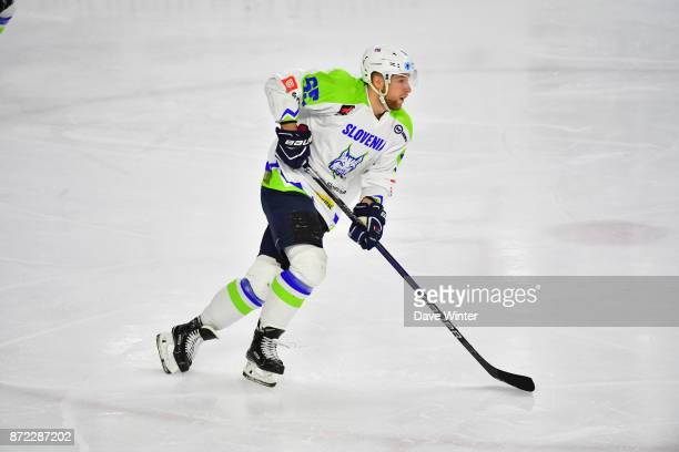 Robert Sabolic of Slovenia during the EIHF Ice Hockey Four Nations tournament match between France and Slovenia on November 9 2017 in Cergy France