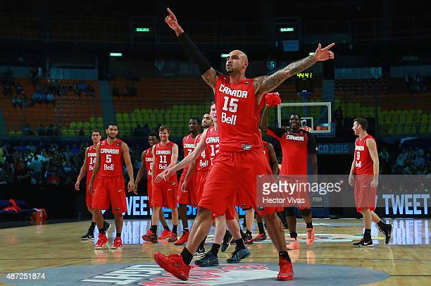 Robert Sacre of Canada celebrates during a second stage match between Uruguay and Canada as part of the 2015 FIBA Americas Championship for Men at...