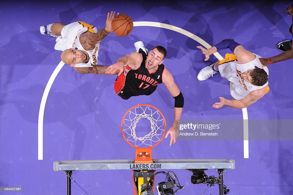 <a gi-track='captionPersonalityLinkClicked' href=/galleries/search?phrase=Robert+Sacre&family=editorial&specificpeople=4682421 ng-click='$event.stopPropagation()'>Robert Sacre</a> #50 of the Los Angeles Lakers attempts a shot during a game against the Toronto Raptors on December 8, 2013 at STAPLES Center in Los Angeles, California.