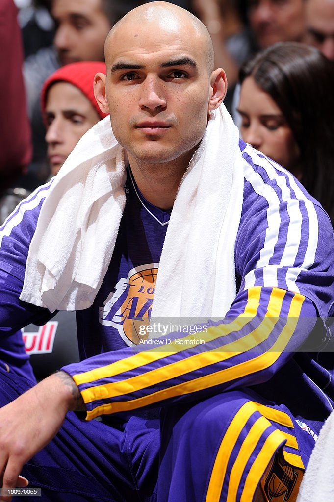 <a gi-track='captionPersonalityLinkClicked' href=/galleries/search?phrase=Robert+Sacre&family=editorial&specificpeople=4682421 ng-click='$event.stopPropagation()'>Robert Sacre</a> #50 of the Los Angeles Lakers during the game against the Brooklyn Nets on February 5, 2013 at the Barclays Center in the Brooklyn borough of New York City.