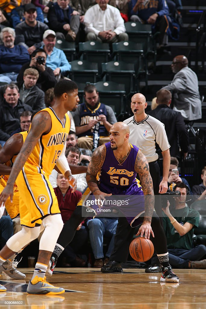 <a gi-track='captionPersonalityLinkClicked' href=/galleries/search?phrase=Robert+Sacre&family=editorial&specificpeople=4682421 ng-click='$event.stopPropagation()'>Robert Sacre</a> #50 of the Los Angeles Lakers handles the ball against the Indiana Pacers on February 8, 2016 at Bankers Life Fieldhouse in Indianapolis, Indiana.