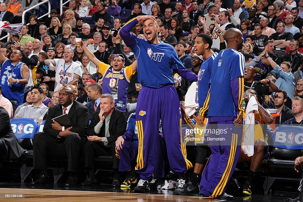 <a gi-track='captionPersonalityLinkClicked' href=/galleries/search?phrase=Robert+Sacre&family=editorial&specificpeople=4682421 ng-click='$event.stopPropagation()'>Robert Sacre</a> #50 of the Los Angeles Lakers reacts to a play during the game against the Phoenix Suns at US Airways Center on January 30, 2013 in Phoenix, Arizona.