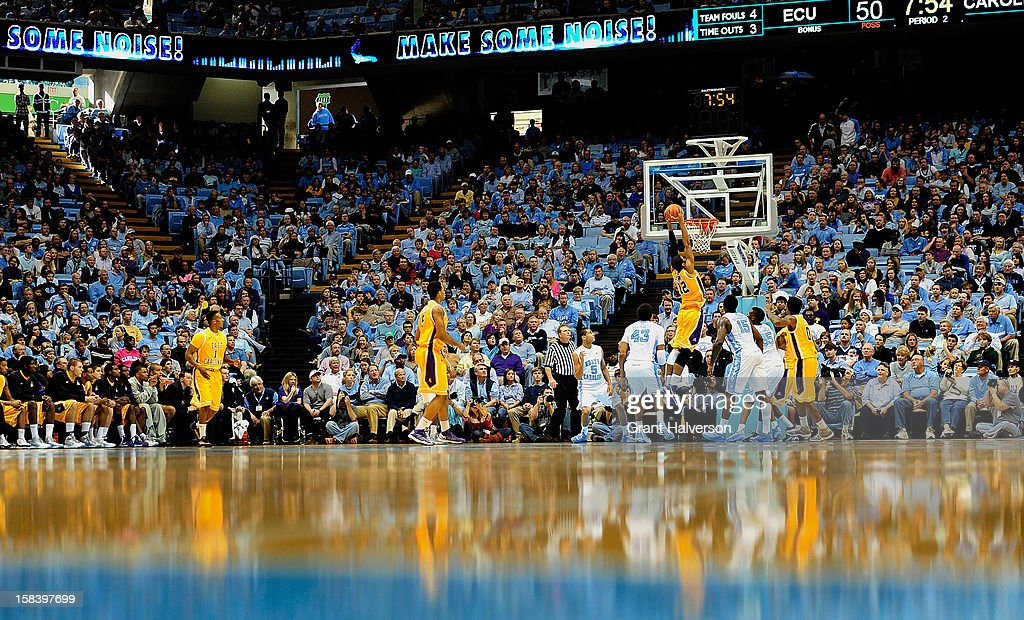 Robert Sampson #12 of the East Carolina Pirates dunks against the North Carolina Tar Heels during play at the Dean Smith Center on December 15, 2012 in Chapel Hill, North Carolina. North Carolina won 93-87.