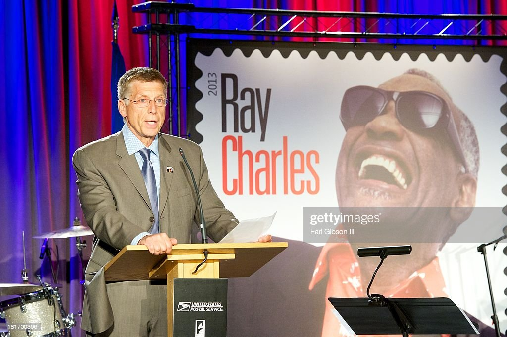 Robert Santelli (Executive Director, The Grammy Museum) speaks at the U.S. Postal Service First Day Of Issue Ceremony of the Ray Charles Forever Stamp at The GRAMMY Museum on September 23, 2013 in Los Angeles, California.