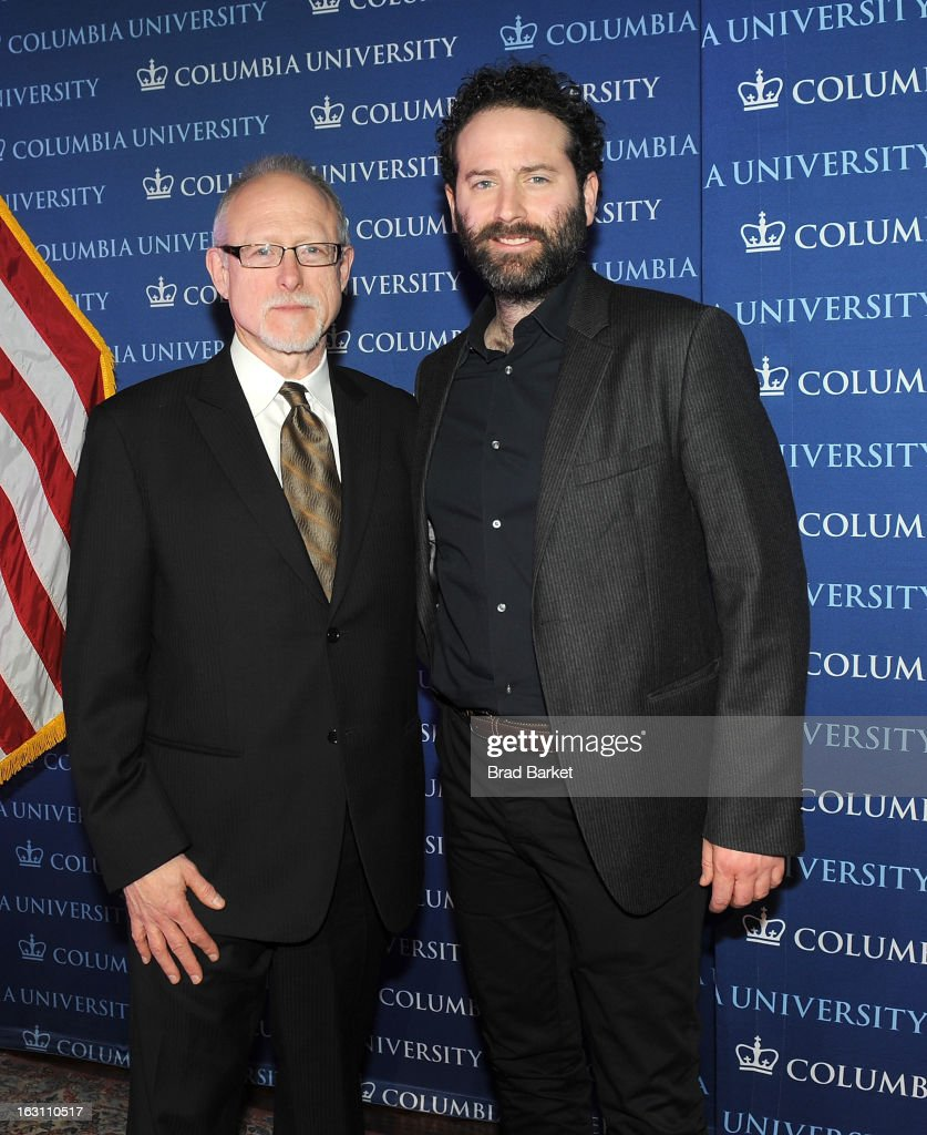 Robert Schenkkan(L) and Dan O'Brien attend the 2013 Edward M. Kennedy Prize For Drama Award Reception at Columbia University on March 4, 2013 in New York City.