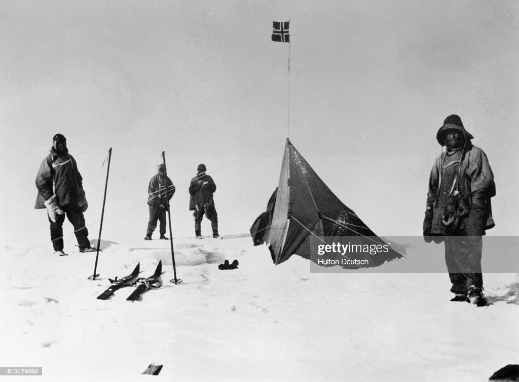 Robert Scott and his party finally arrive at the South Pole only to discover the tent left by Norwegian explorer Roald Amundsen who had made it there one month earlier. Scott and his party all died on the return trip but a film about this expedition, 90 Degrees South: With Scott to the Antarctic, was made by Herbert G. Ponting in 1993. Ponting had been on the earlier parts of the trip.