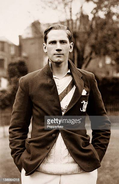 Robert Scott Sussex County cricket club wearing his Oxford University blazer circa 1933
