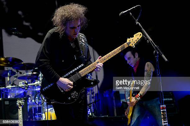Robert Smith and Simon Gallup of The Cure perform at Fiddlers Green Amphitheatre in Englewood Colorado on June 5 2016