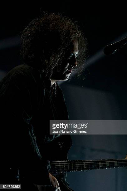 Robert Smith from The Cure performs on stage at WiZink Center on November 20 2016 in Madrid Spain