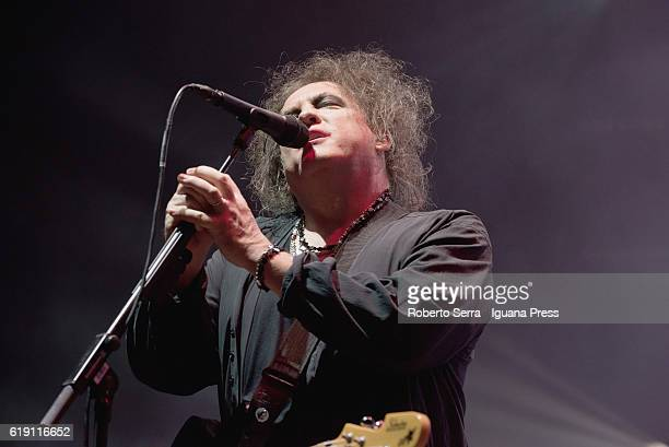 Robert Smith leads The Cure in concert at Unipol Arena on October 29 2016 in Bologna Italy