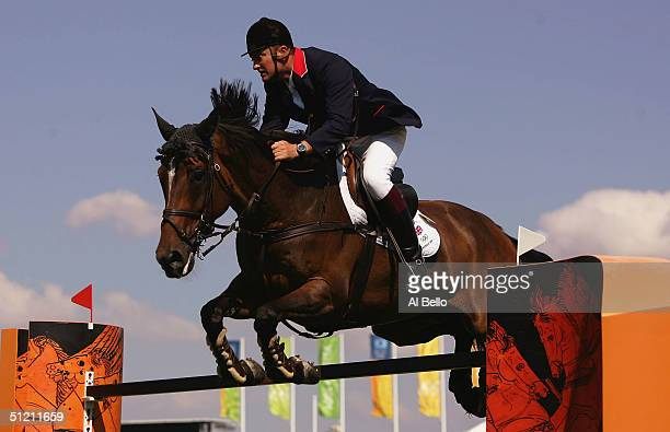 Robert Smith of Great Britain competes on Mr Springfield in the individual show jumping event on August 24 2004 during the Athens 2004 Summer Olympic...
