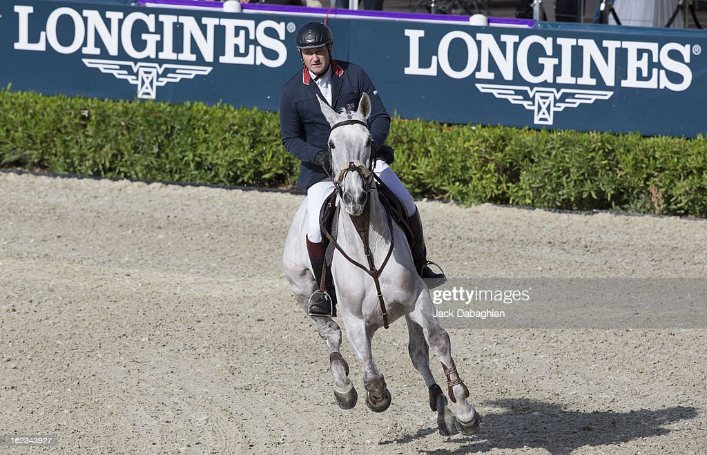 Robert Smith of Great Britain rides Balourdo during the President of the UAE Showjumping Cup - Furusyiah Nations Cup Series presented by Longines on February 21, 2013 in Al Ain, United Arab Emirates.