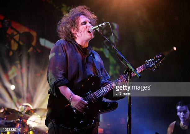 Robert Smith of The Cure during 'The Curiosa' Tour in San Diego August 24 2004 at Coors Amphitheatre in San Diego California United States