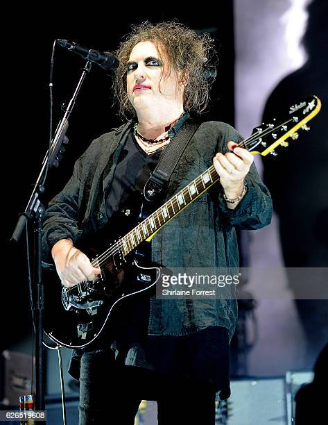 Robert Smith of The Cure performs at Manchester Arena on November 29 2016 in Manchester United Kingdom