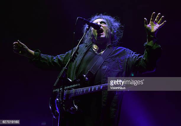Robert Smith of The Cure performs at the Manchester Arena on November 29 2016 in Manchester England