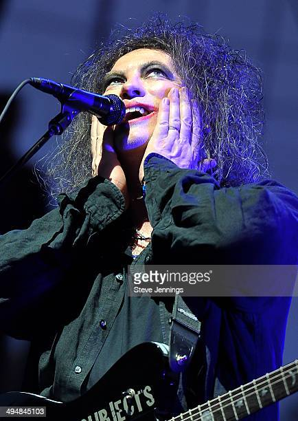 Robert Smith of The Cure performs on Day 1 of the 2nd Annual BottleRock Napa Festival at Napa Valley Expo on May 30 2014 in Napa California