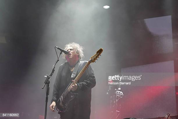 Robert Smith of The Cure performs on stage at Madison Square Garden on June 18 2016 in New York City