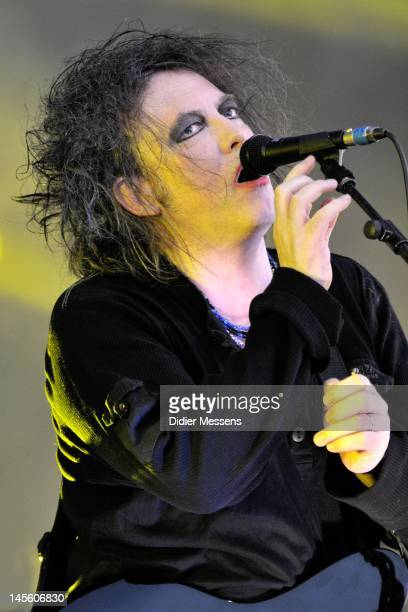 Robert Smith of The Cure performs on stage during Pinkpop Festival on May 26 2012 in Landgraaf Netherlands