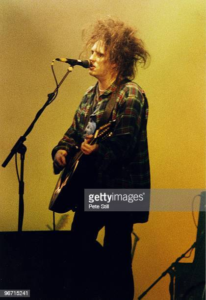 Robert Smith of The Cure performs on stage in Finsbury Park on June 13th 1993 in London United Kingdom