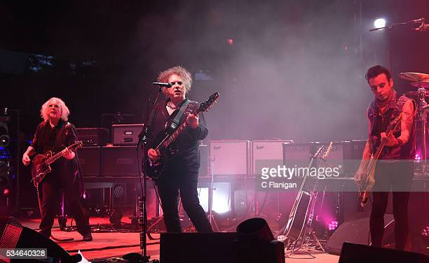 Robert Smith Reeves Gabrals and Simon Gallup of The Cure perform at Shoreline Amphitheatre on May 26 2016 in Mountain View California