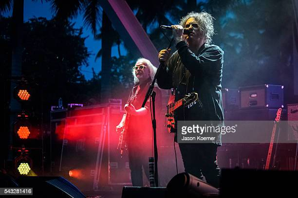 Robert Smith Reeves Grabels of The Cure performs at Bayfront Park Amphitheater on June 26 2016 in Miami Florida