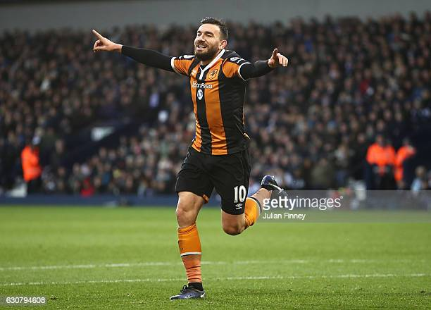 Robert Snodgrass of Hull City celebrates scoring his sides first goal during the Premier League match between West Bromwich Albion and Hull City at...