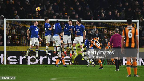Robert Snodgrass of Hull City scores with a free kick for his team's second goal during the Premier League match between Hull City and Everton at...