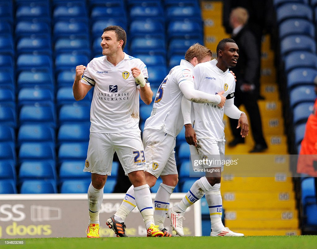 Robert Snodgrass (L) of Leeds celebrates after he scores the second goal of the game for his side during the npower Championship match between Leeds United and Millwall at Elland Road on December 03, 2011 in Leeds, England.