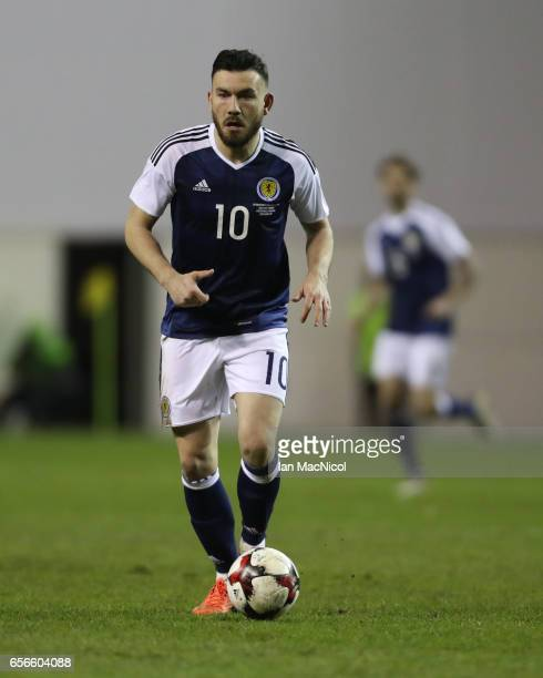 Robert Snodgrass of Scotland controls the ball during the International Challenge Match between Scotland and Canada at Easter Road on March 22 2017...