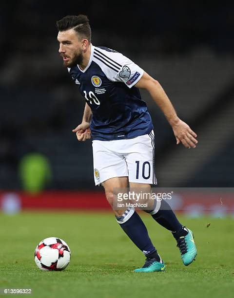 Robert Snodgrass of Scotland controls the ball during the FIFA 2018 World Cup Qualifier between Scotland and Lithuania at Hampden Park on October 8...
