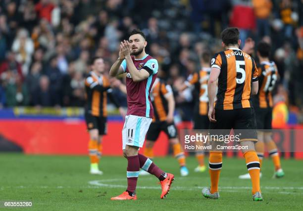 Robert Snodgrass of West Ham United applauds the West Ham fans at the end of the game during the Premier League match between Hull City and West Ham...