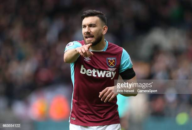 Robert Snodgrass of West Ham United during the Premier League match between Hull City and West Ham United at KCOM Stadium on April 1 2017 in Hull...