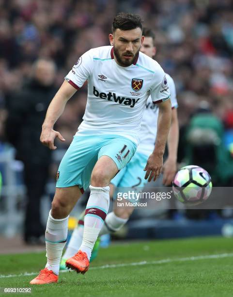 Robert Snodgrass of Wets Ham United controls the ball during the Premier League match between Sunderland and West Ham United at Stadium of Light on...