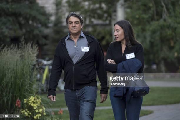Robert Soros deputy chairman of Soros Fund Management LLC left and Jamie Singer executive director of TeamConnor Childhood Cancer Foundation arrive...