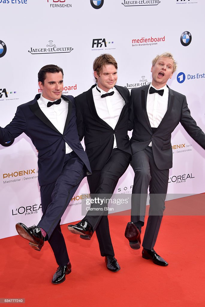 Robert Stadlober (R) attends the Lola - German Film Award (Deutscher Filmpreis) on May 27, 2016 in Berlin, Germany.