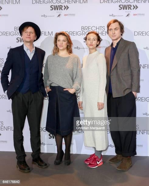 Robert Stadlober Britta Hammelstein Peri Baumeister and Lars Eidinger attend the photo call for the film 'Brechts Dreigroschenfilm' on February 28...