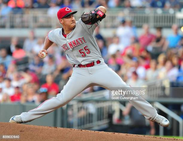 Robert Stephenson of the Cincinnati Reds throws a first inning pitch against the Atlanta Braves at SunTrust Park on August 19 2017 in Atlanta Georgia